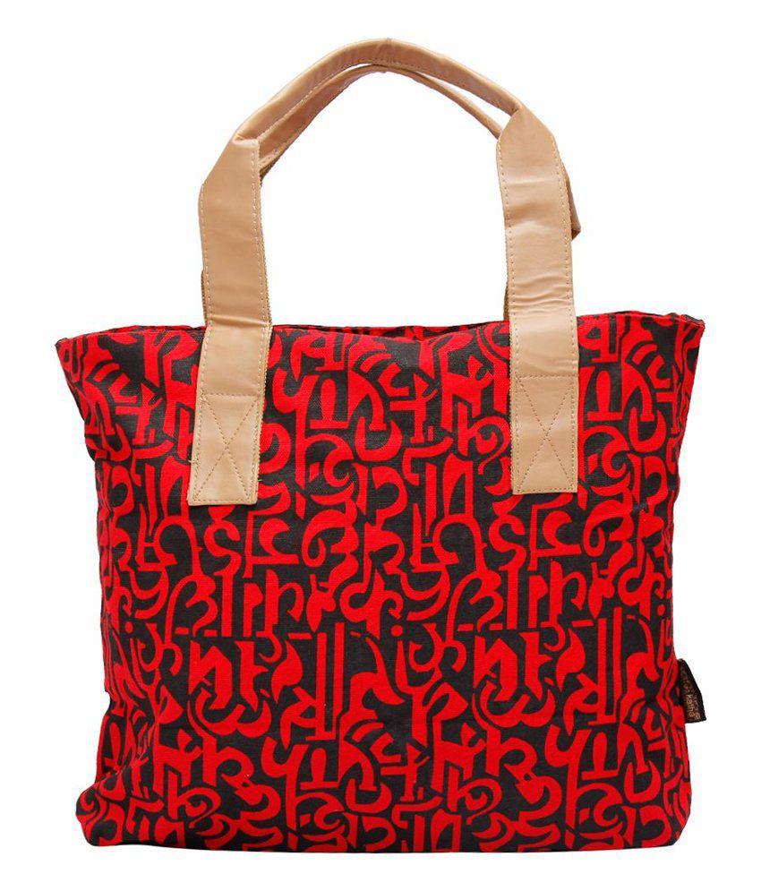 Kanvas Katha Red Tote Bags