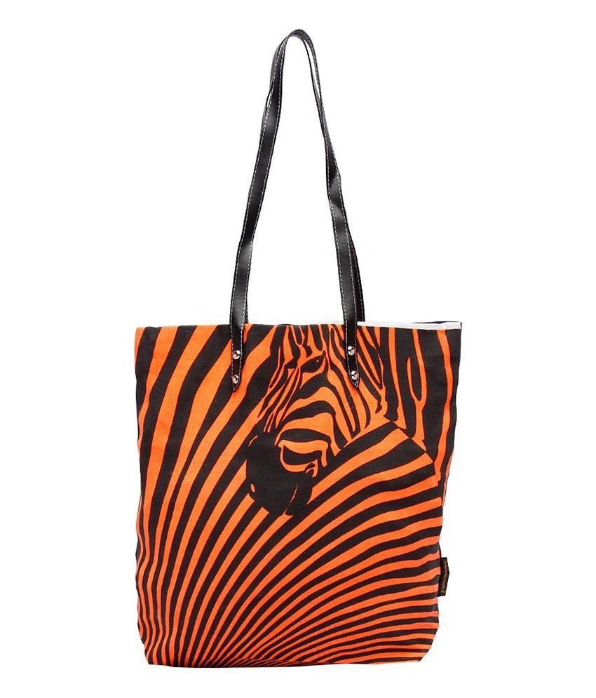 Kanvas Katha Orange Tote Bags