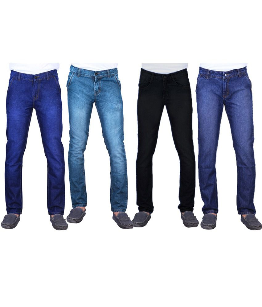 Ave Multicolour Cotton Regular Fit Faded Jeans - Pack Of 4