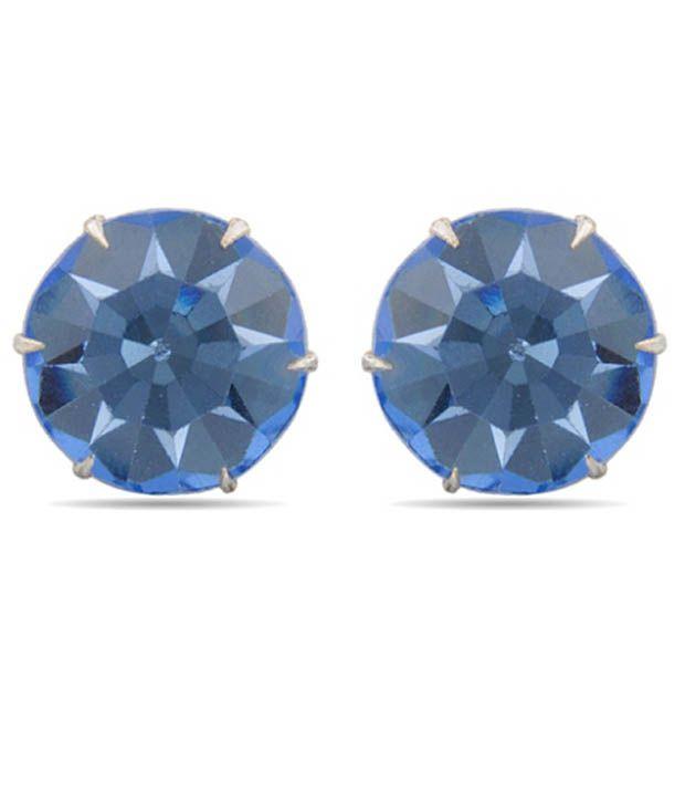 D&D Cool Blue Crystal Stud Earrings
