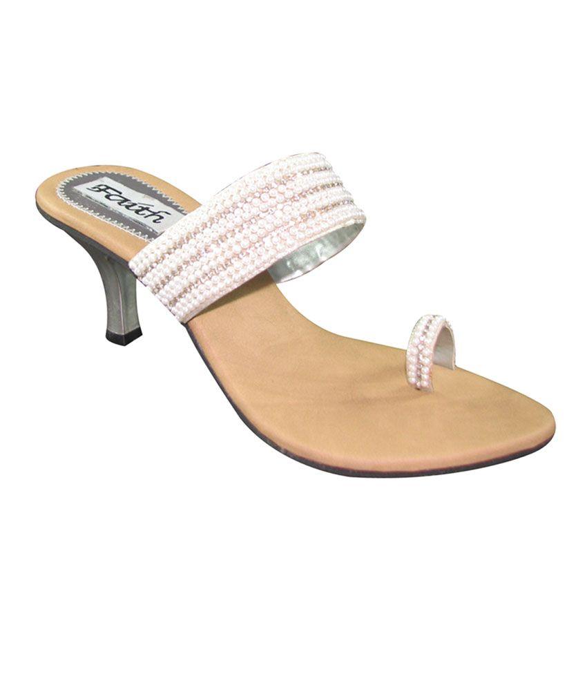 Faith White Faux Leather Heel Sandal For Women