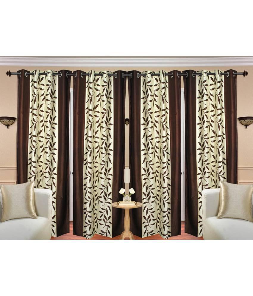 Handloom Hut Set of 4 Door Eyelet Curtains Contemporary Brown