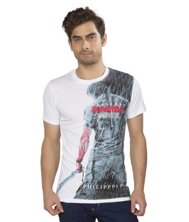 Kkoir White Printed Round Neck T Shirt