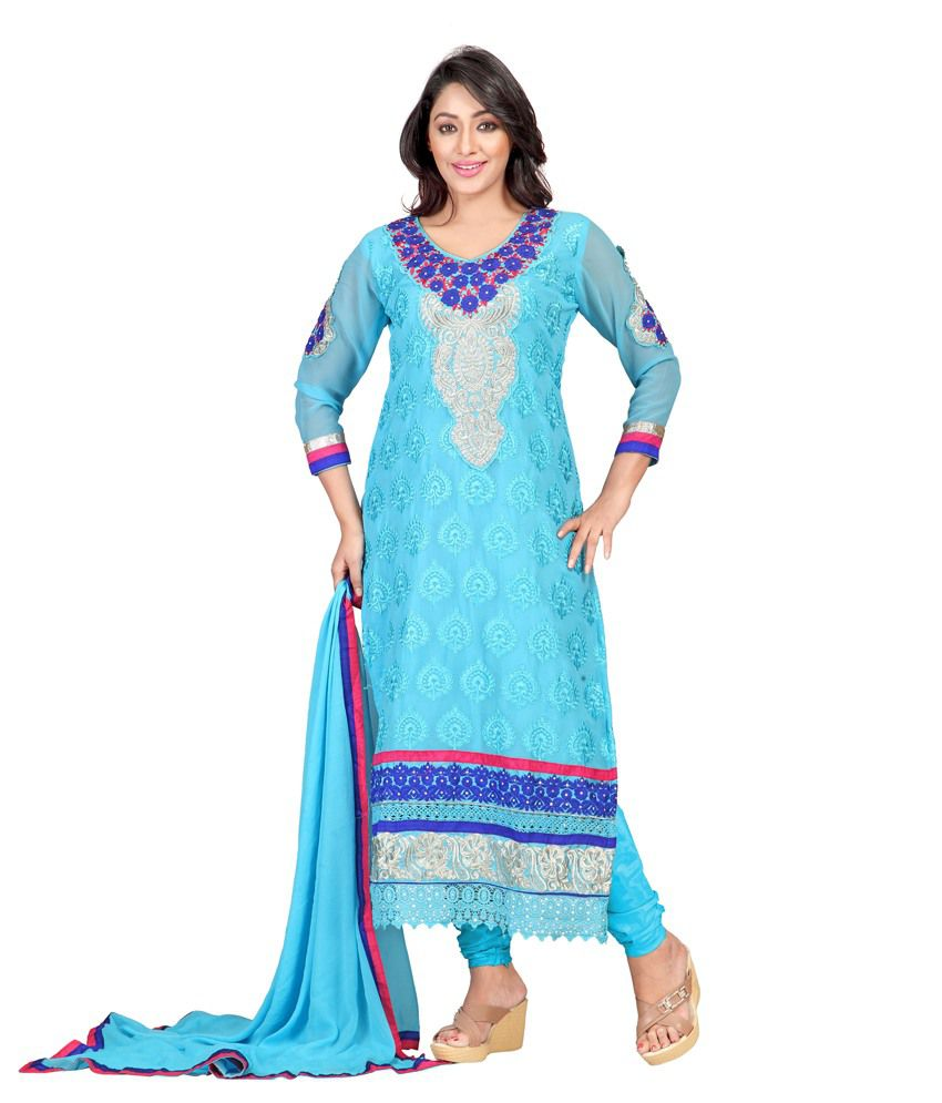 Ladystar Blue Pure Georgette Unstitched Dress Material