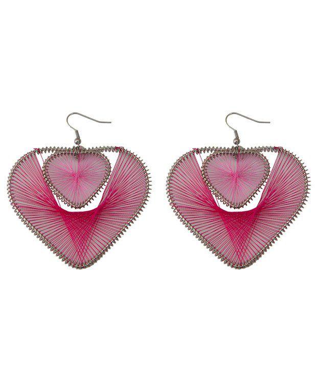 Taj Pearl Pink Alloy Style Diva Drop Earrings