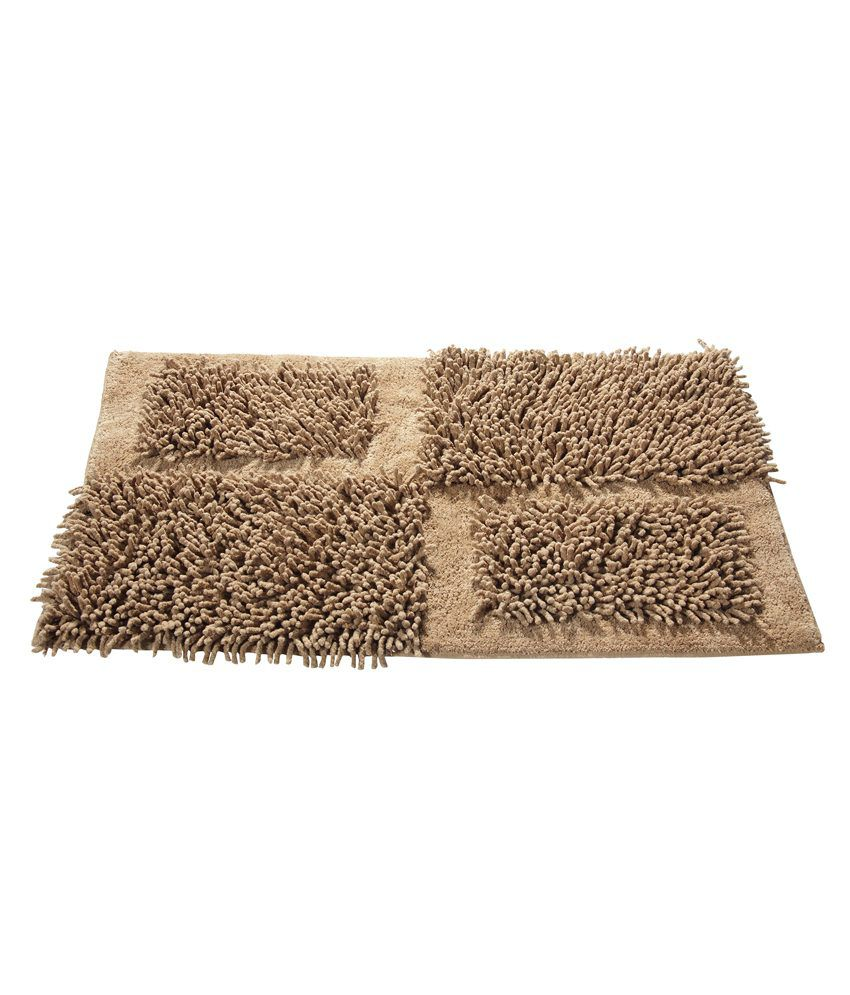 Homefurry Beige Abstract Cotton Floor Mat