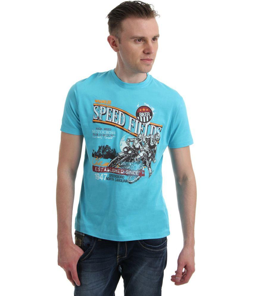 Wrangler Turquoise Cotton Blend Round Neck Half Sleeved T-shirt