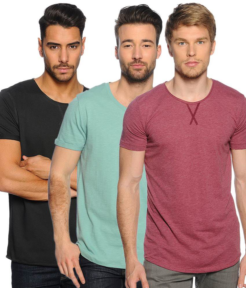 Zachi Beautiful Multi-coloured Pack of 3 Half Sleeve T Shirts for Men