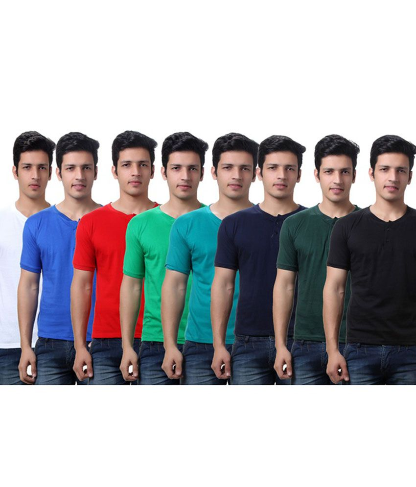TeeMoods Cotton Henley Neck T-Shirts- Pack of 8