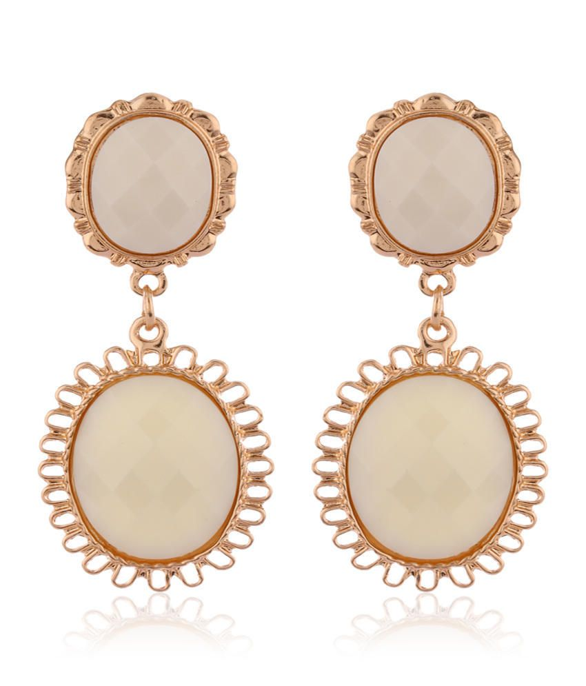 Addons White Drop Earrings