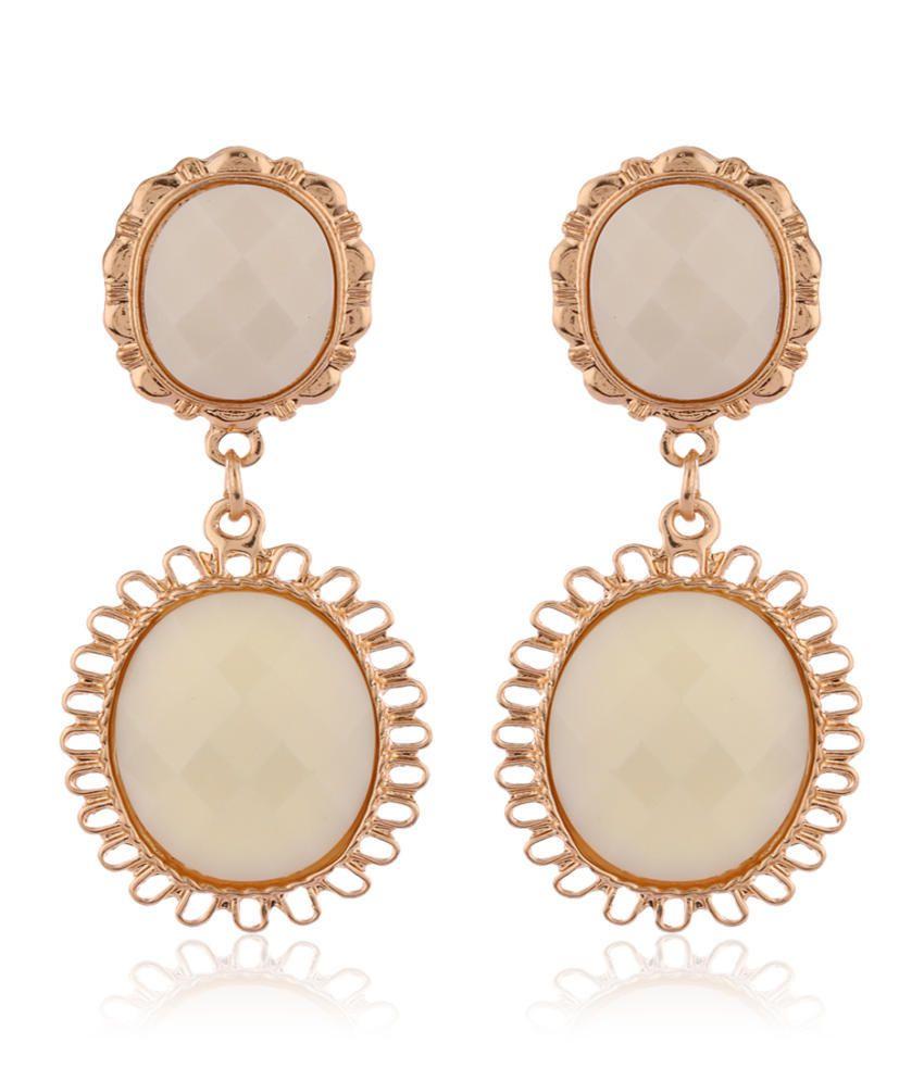Addons White Drop Earrings