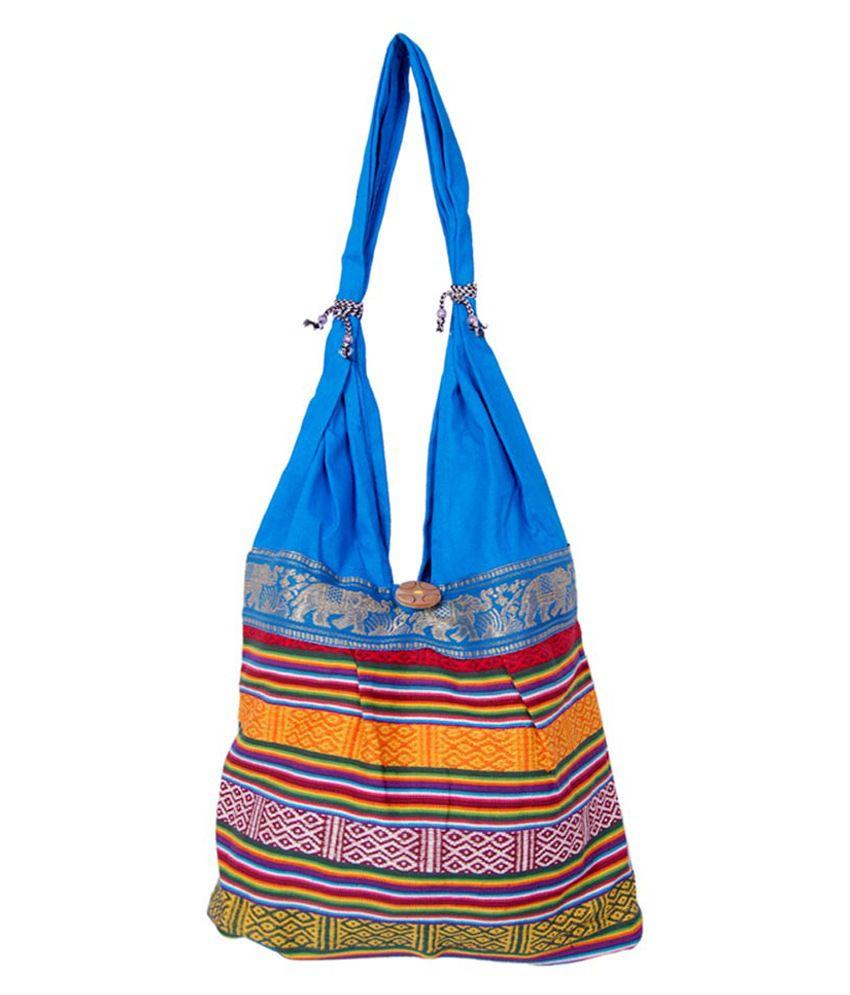 Fashion Bizz Blue Canvas Cloth Jhola Bag