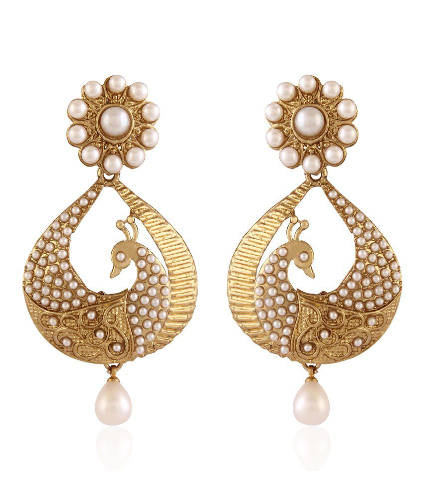 I Jewels Traditional Gold Plated Peacock Shaped Pearl Earrings