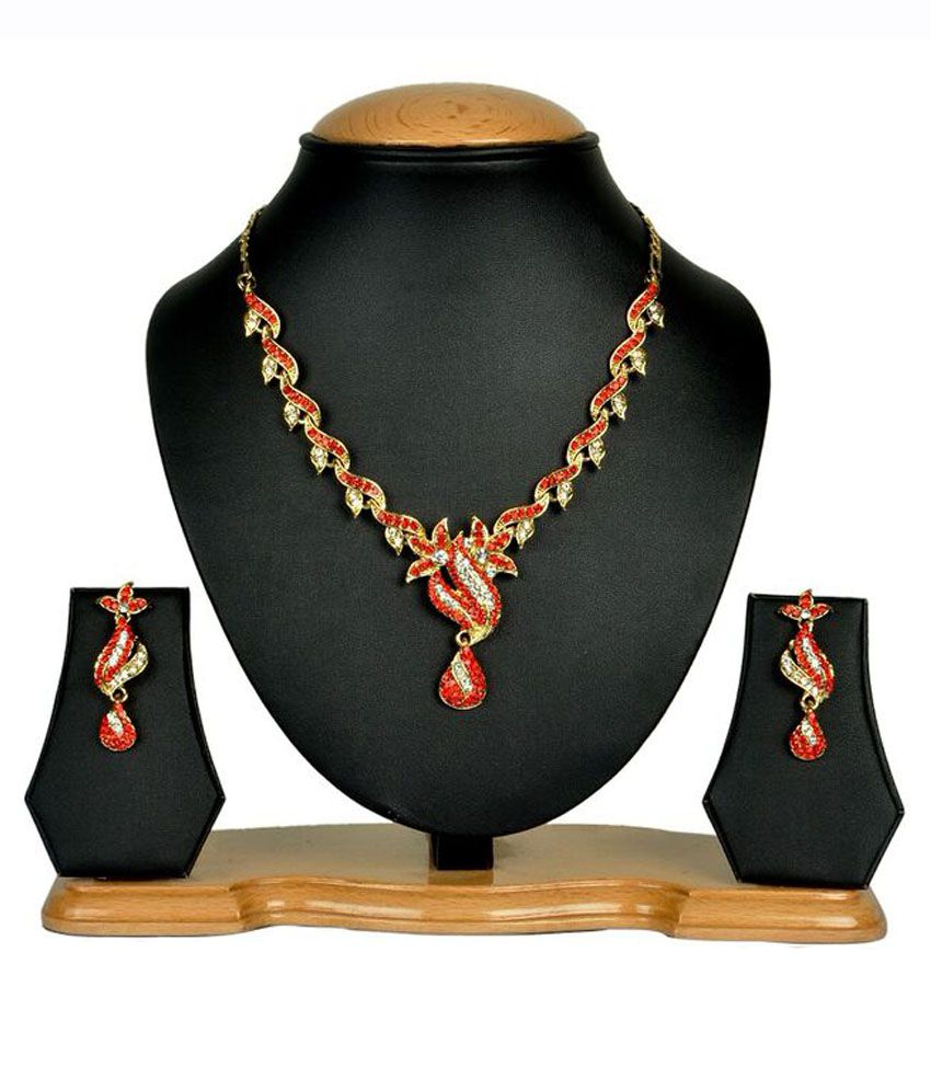 Rashi Jewellery Red Alloy Necklace Set
