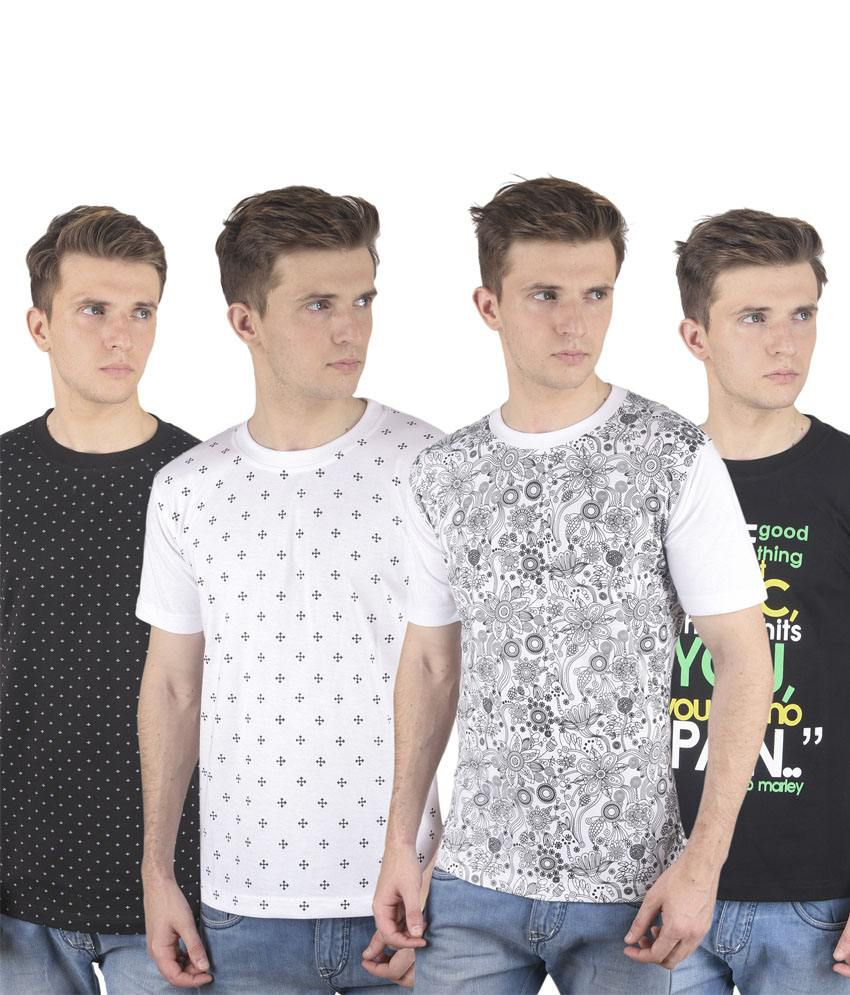 Stylogue Multicolor Cotton Blend Round Neck Printed Men T Shirts Combo Of 3