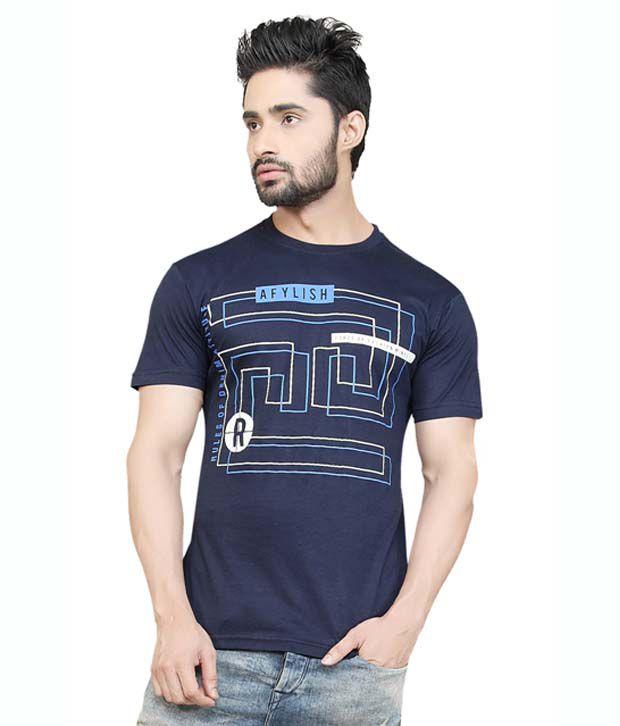 Afylish Printed Navy Blue Round Neck Mens T-Shirt- Supima Cotton