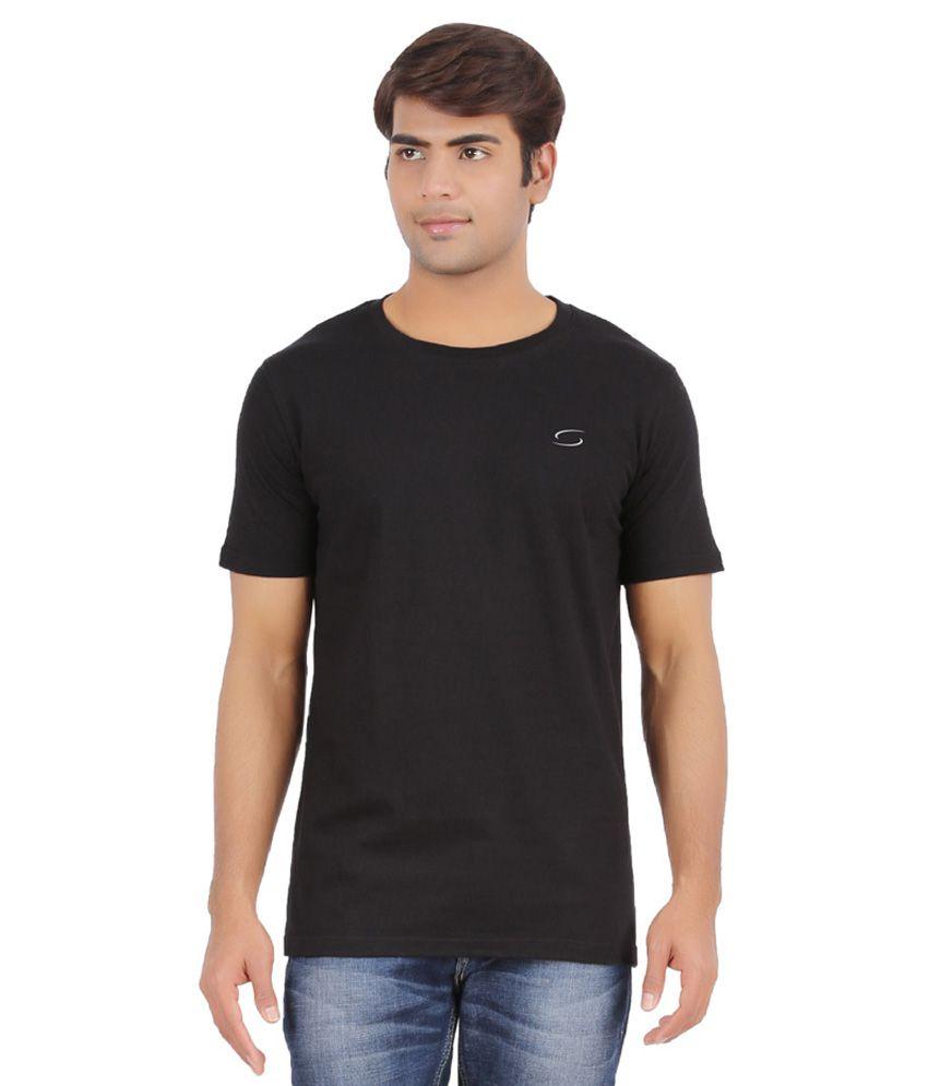 Ap'pulse Black Cotton Sports T-Shirt
