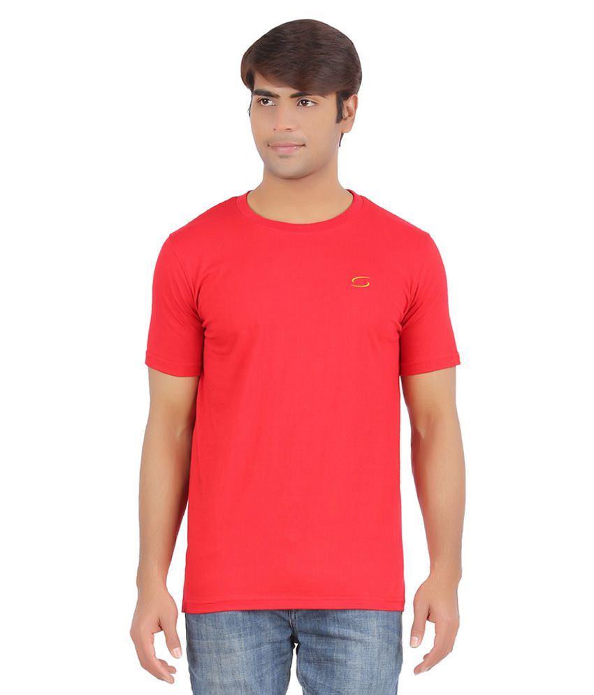 Ap'pulse Red Cotton Sports T-Shirt