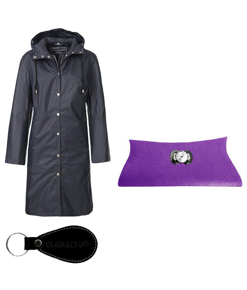 Gledati Black Polyester Combo Of Raincoat & Clutch