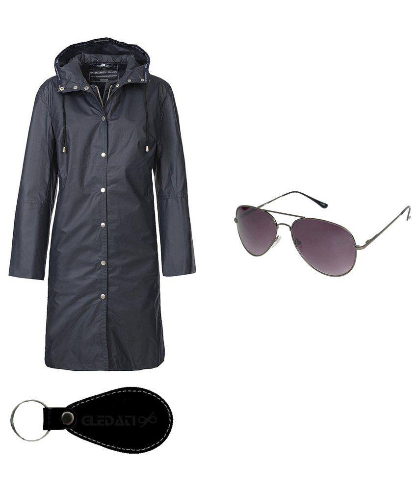 Gledati Black Polyester Combo Of Raincoat & Sunglasses
