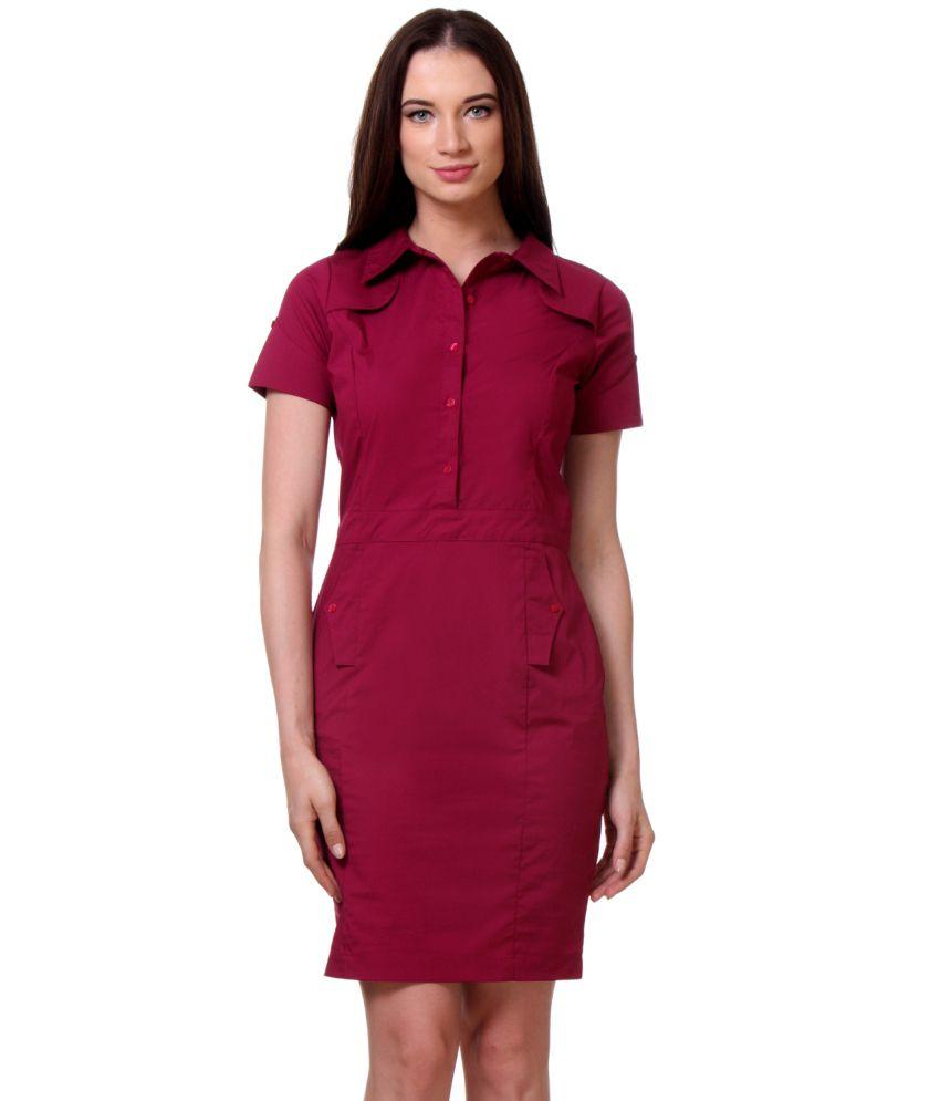Kaaryah Maroon Cotton Lycra Dresses