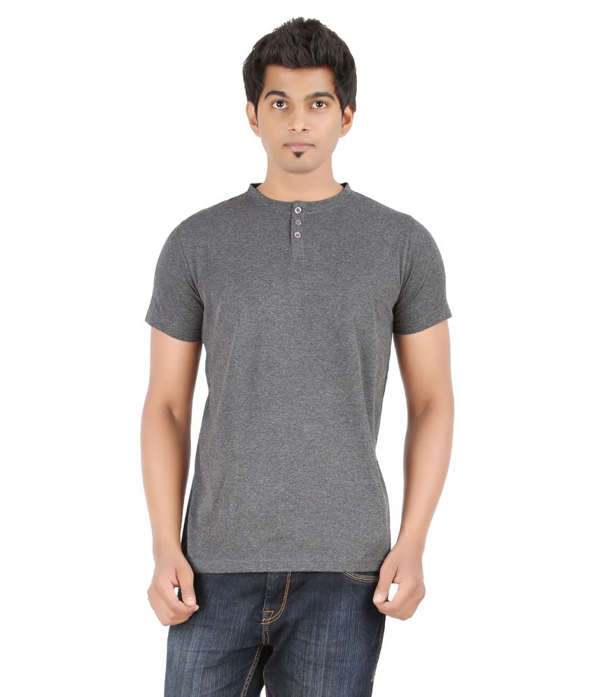 Ap'pulse Gray Cotton Half Sleeves Henley