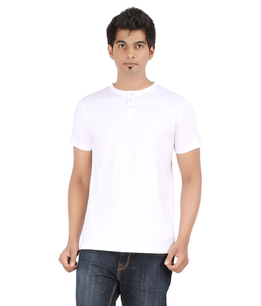 Ap'pulse White Cotton Half Sleeves Henley