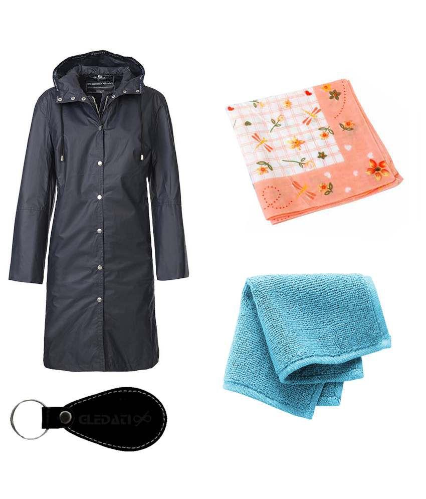 Gledati Black Polyester Combo Of Raincoat, Handkerchief & Towel Handkerchief
