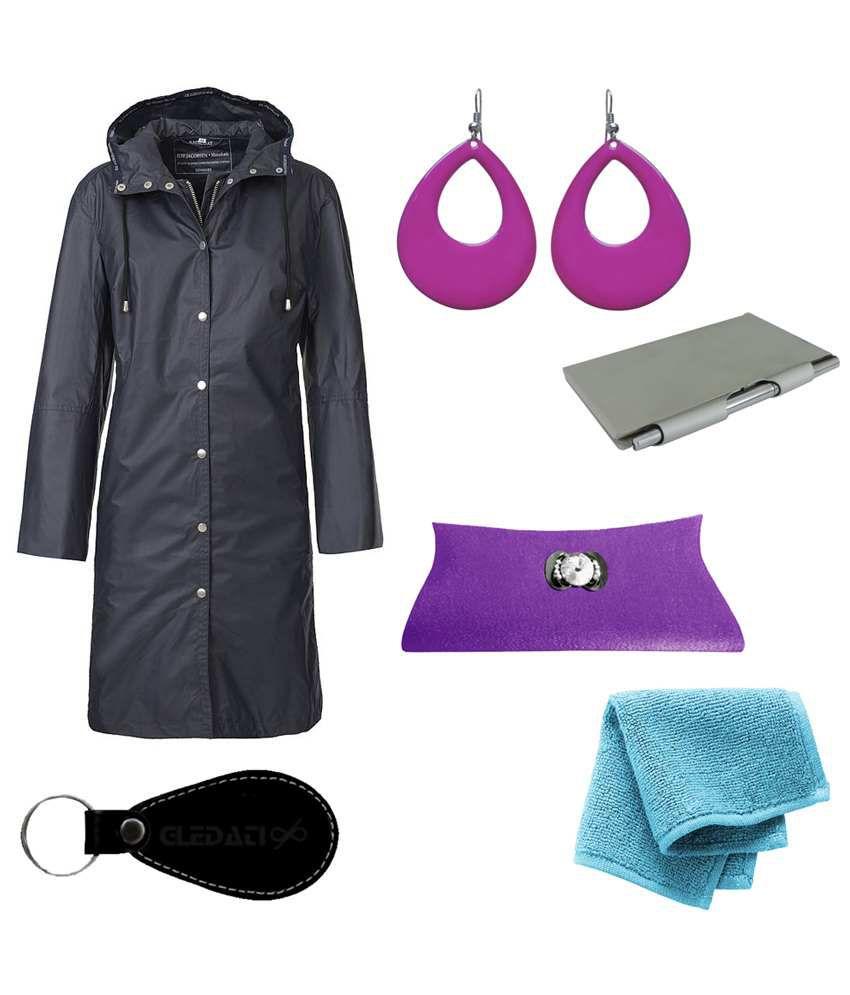 Gledati Black Polyester Combo Of Raincoat, Towel Handkerchief, Aluminium Case Pocket Diary, Clutch & Dangler Earring