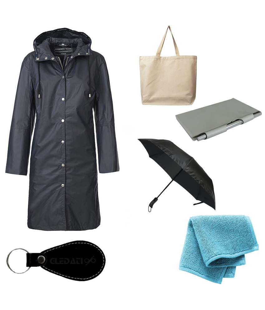 Gledati Black Polyester Combo Of Raincoat, Towel Handkerchief, Aluminium Case Pocket Diary, Umbrella & Ladies Hand Bag