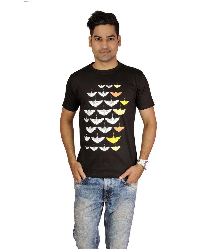 Go-art Black Cotton Round Neck Men T- Shirt Single