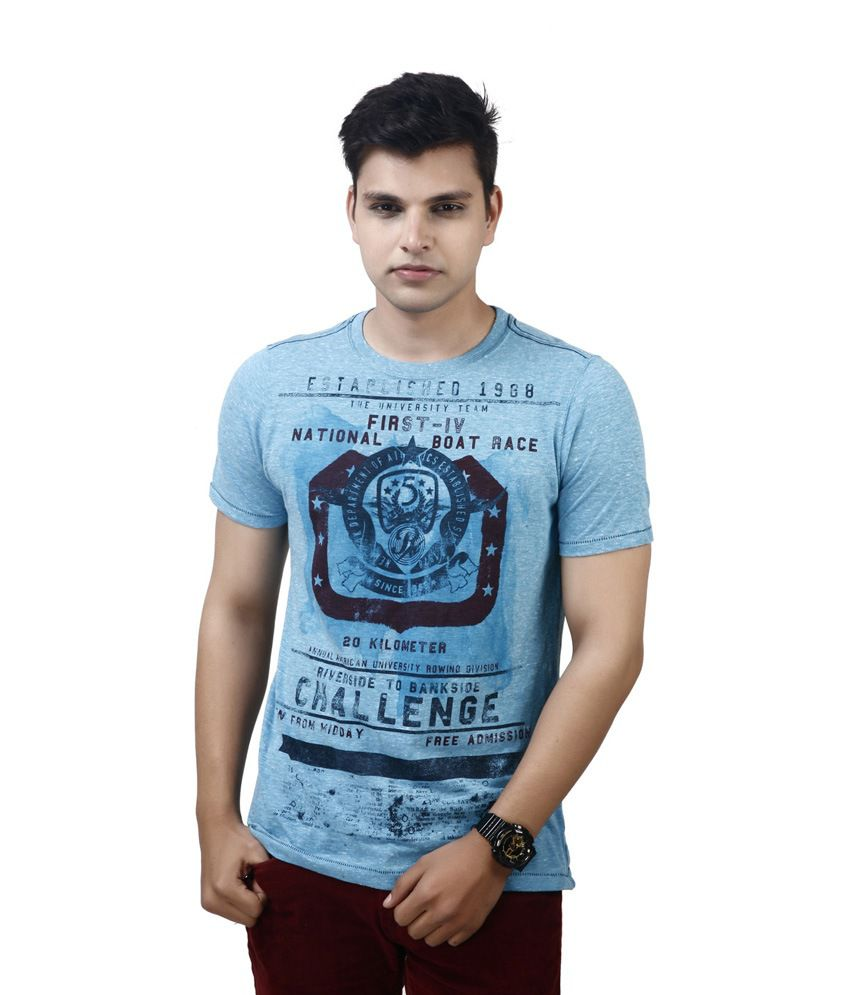 Modimania Blue Cotton Round Neck T-Shirt
