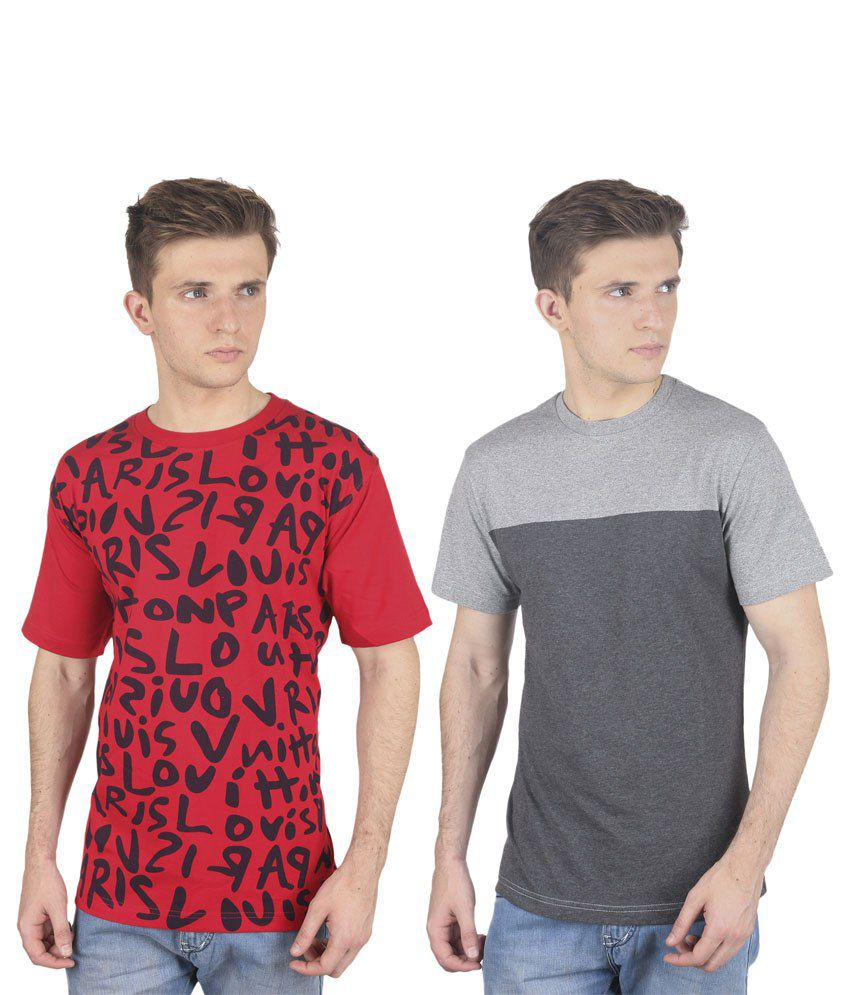 Stylogue Multicolor Cotton Blend Round Neck Printed Men T Shirts Combo Of 2