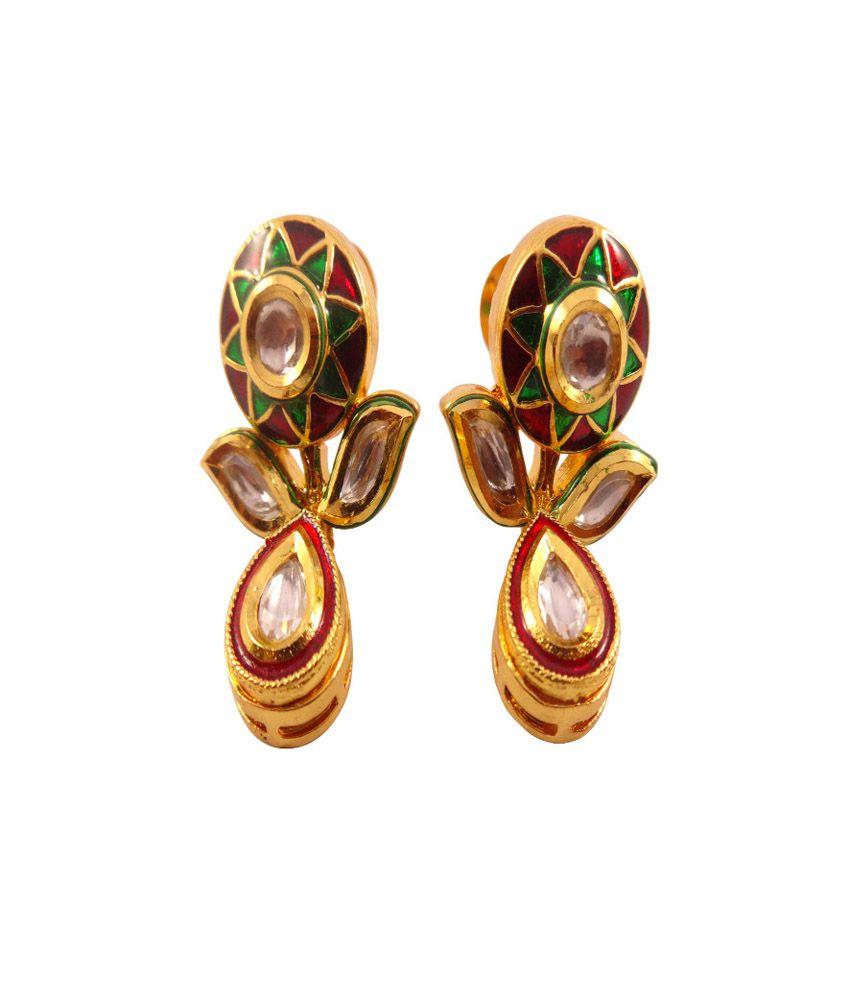 Ambrose Jewels Gold Antique Look And Meena Work Kundan Earings