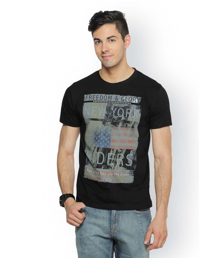 Ferrous Black Cotton Round Neck Half Sleeve Printed T-Shirt