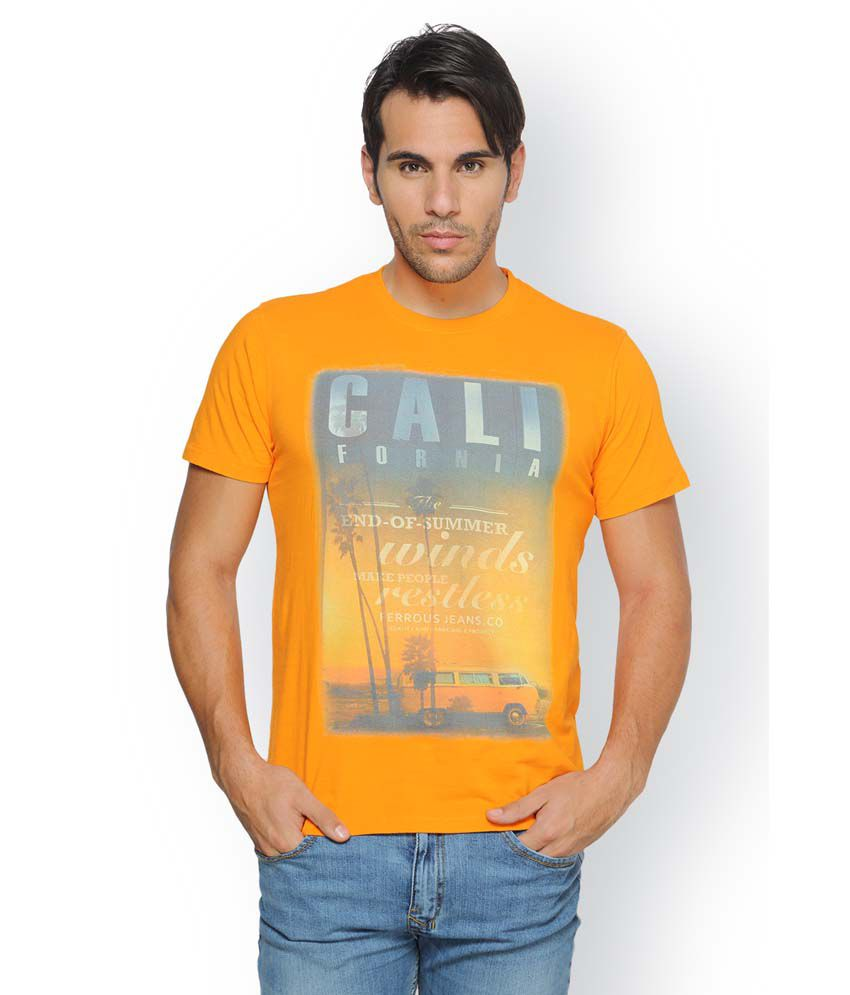 Ferrous Orange Cotton Round Neck Half Sleeve Printed T-Shirt