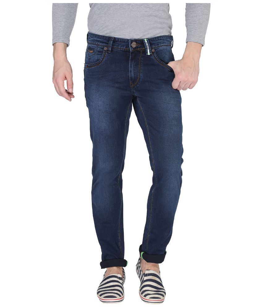 Leonidas Blue Cotton Slim Jeans For Men
