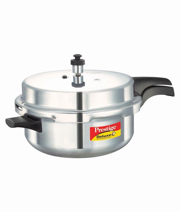 Prestige Deluxe Plus Aluminium 4.8 L Deep Pan Pressure Cooker (Outer Lid)