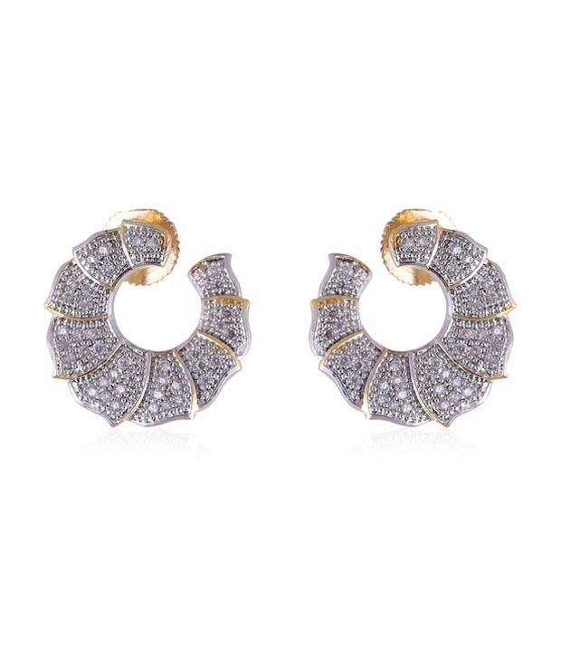 Vastradi Gold Silver Alloy American Diamonds Party Huggies Earrings