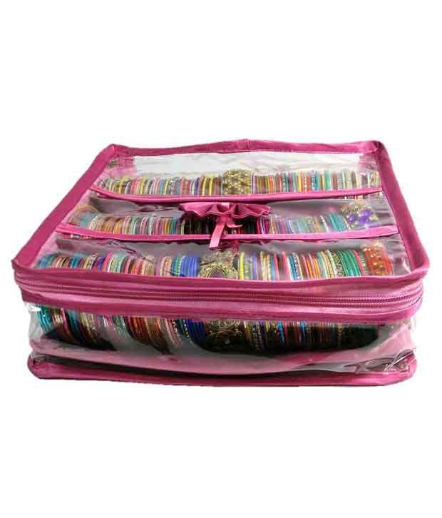 Addyz Pink 3 Rods Bangle Travel Case
