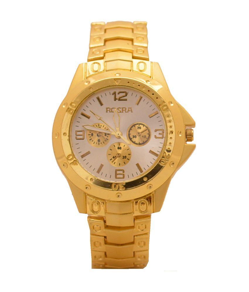 Rosra white dial gold plated analog men 39 s watch mw34 buy rosra white dial gold plated analog for Rosra watches