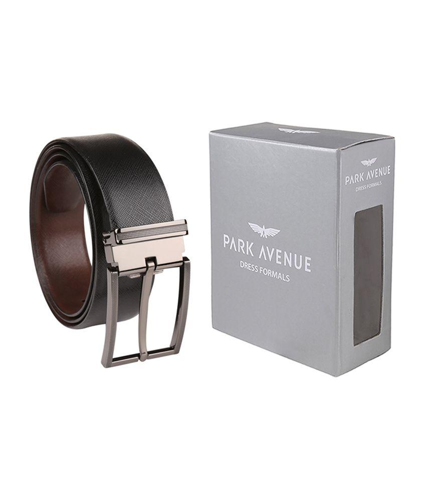 Park Avenue Trendy Black Leather Pin Buckle Reversible Belt