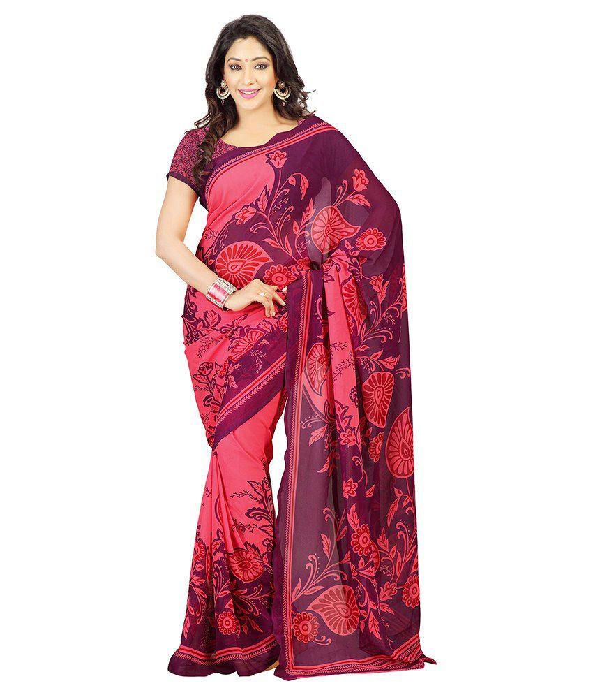 Florence Red Faux Georgette Saree