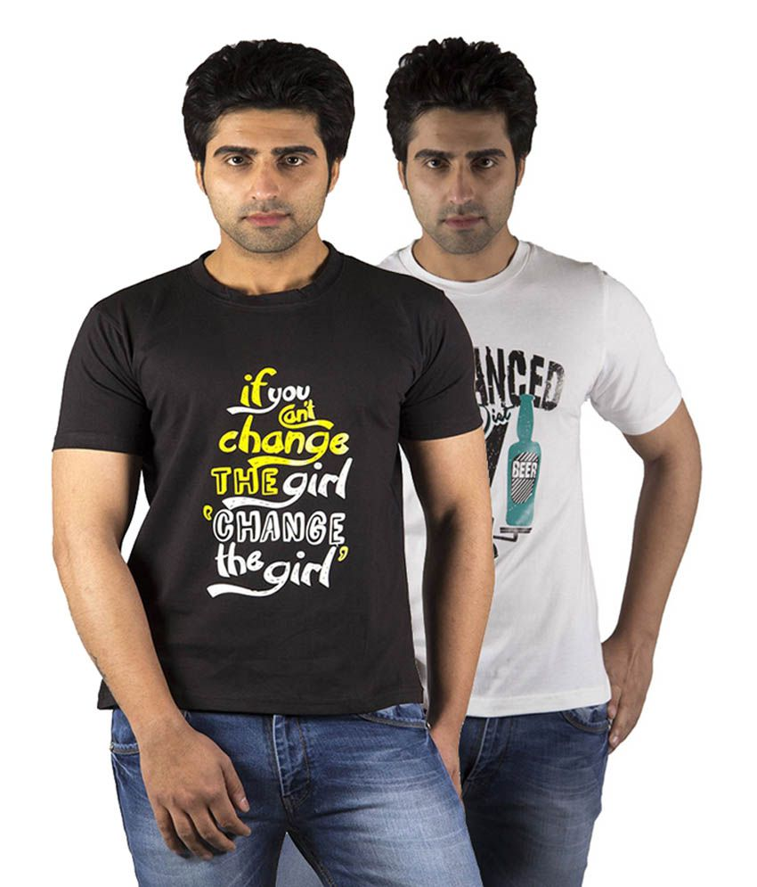 Schonheits Trendy Black & White Cotton Blend Half Sleeves T-Shirts (Pack of 2)