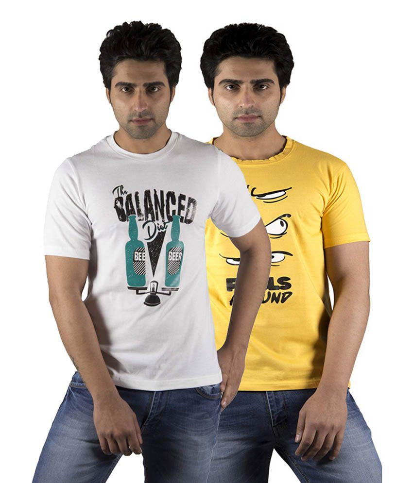 Schonheits Yellow & White Cotton Blend Half Sleeves T-Shirts (Pack of 2)