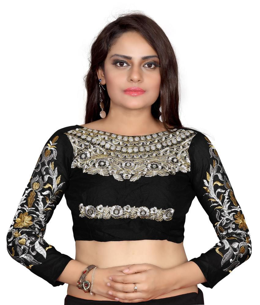 Indian House Black Cotton Blouses (Free Size) low price