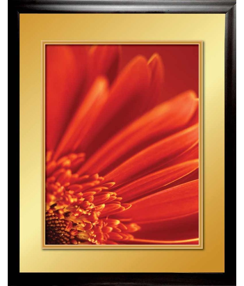 Mataye Graphics Red Flower Designer Painting With Frame