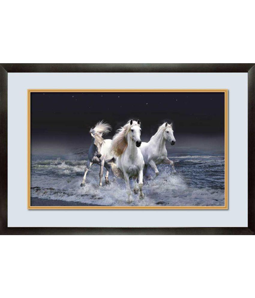 Mataye Graphics White Horse Designer Painting With Frame