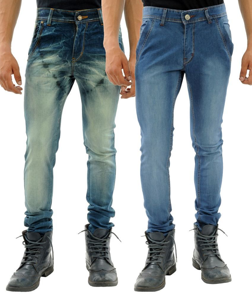 Sny Hind Outfitters Combo of 2 Dark Blue Slim Fit Jeans for Men