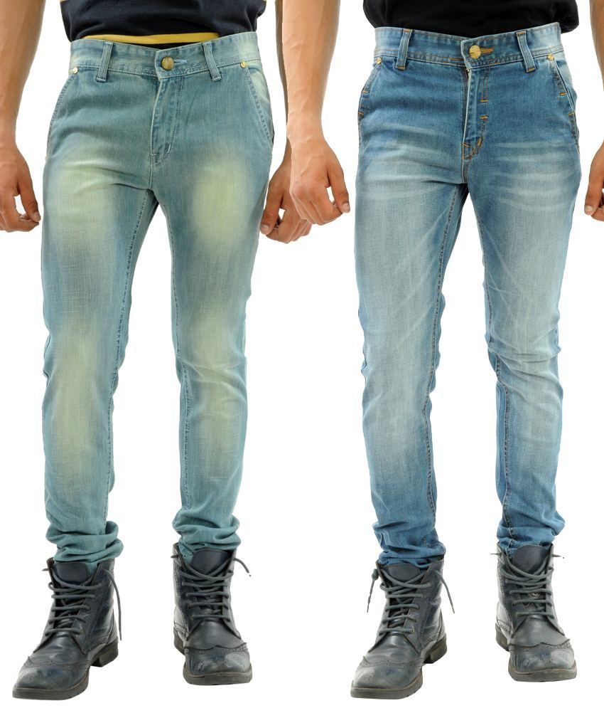 Sny Hind Outfitters Comfortable Combo of 2 Blue Slim Fit Jeans for Men